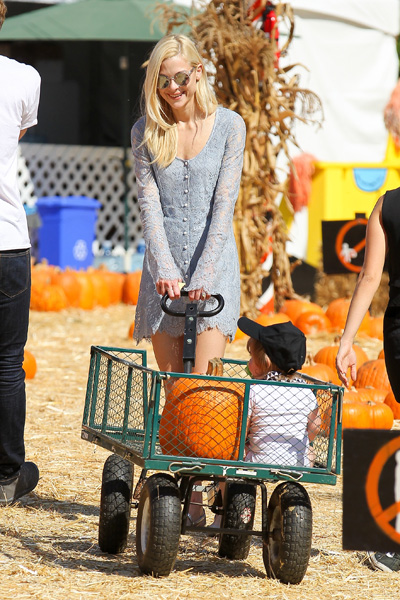 Jaime King and son at pumpkin patch