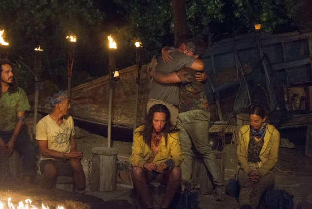 Jeff Varner hugs Zeke Smith at Tribal Council on Survivor: Game Changers
