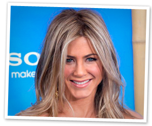 Jennifer Aniston's blond, long, wavy celebrity hairstyle