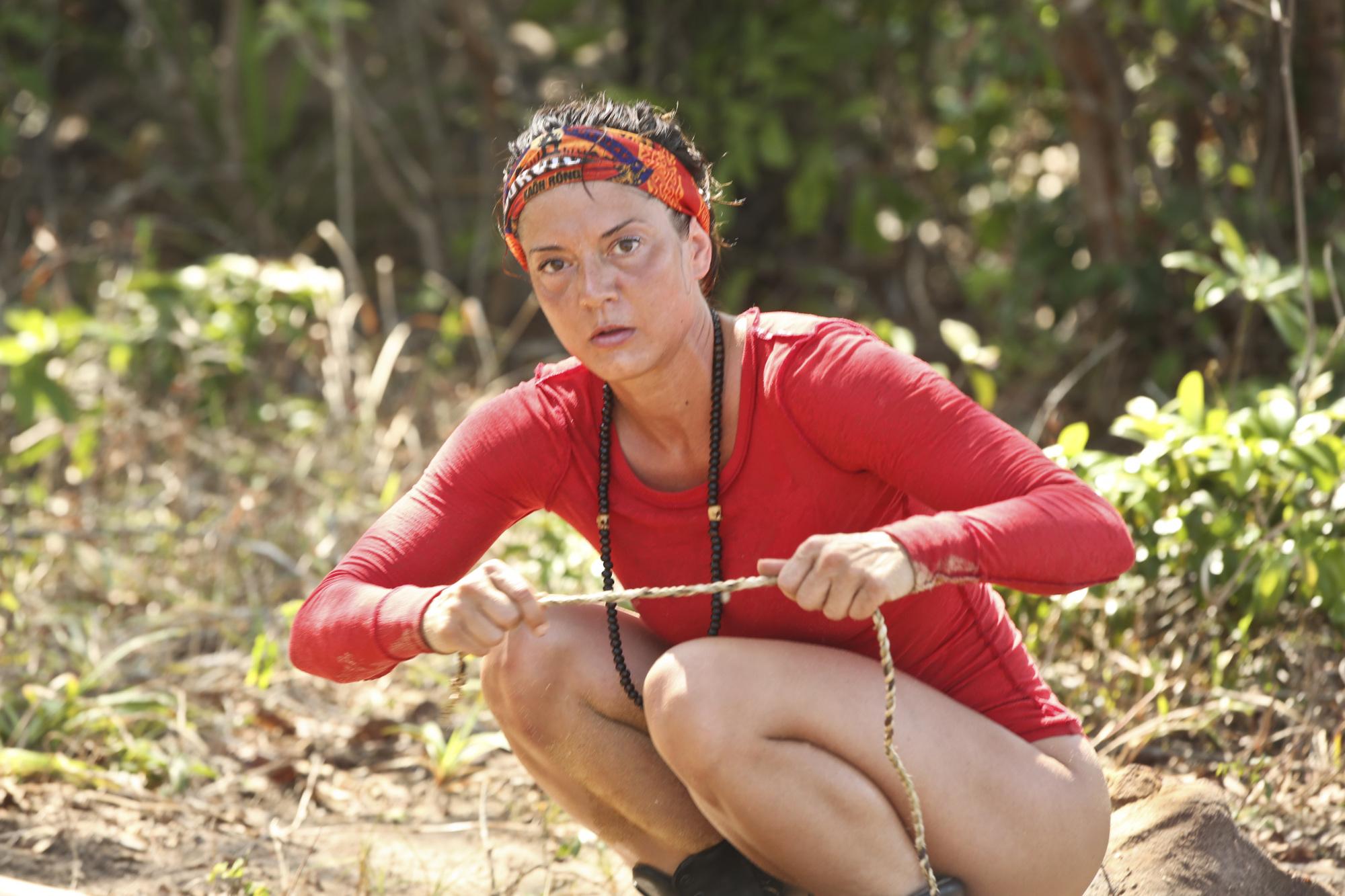Jennifer Lanzetti at the Brawn tribe camp on Survivor: Kaoh Rong