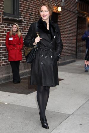 Jennifer Lawrence in a black coat