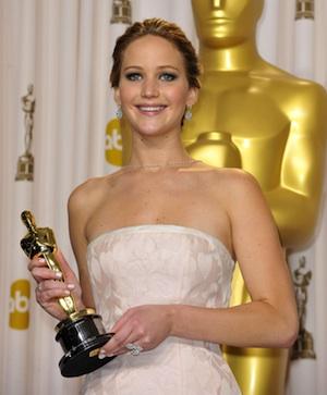 Jennifer Lawrence wins Best Actress the 2013 Oscars.