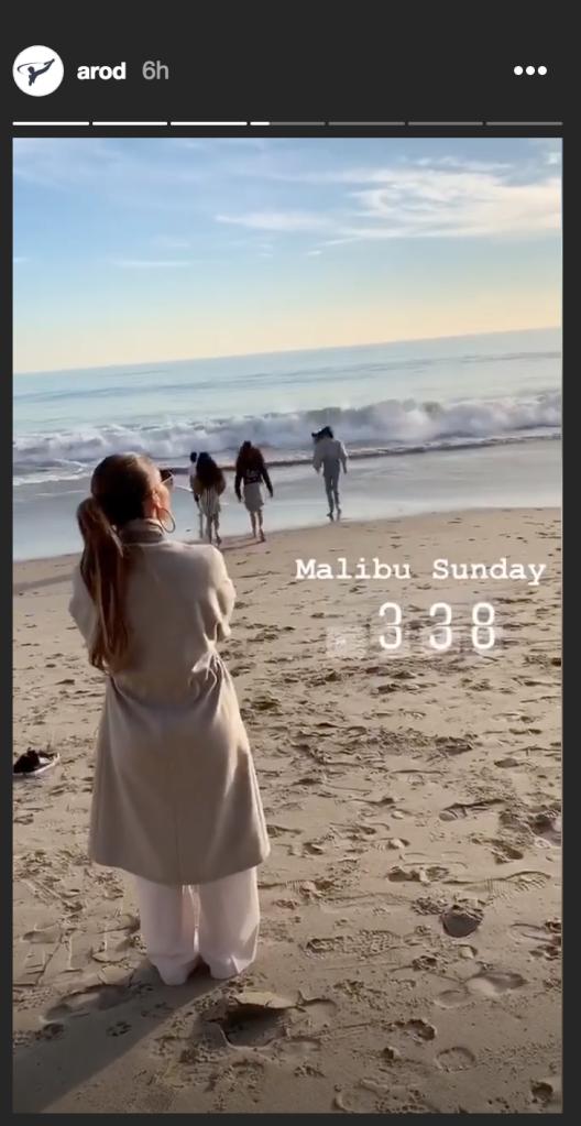 Photo of Jennifer Lopez on Malibu Beach with her and Alex Rodriguez's kids
