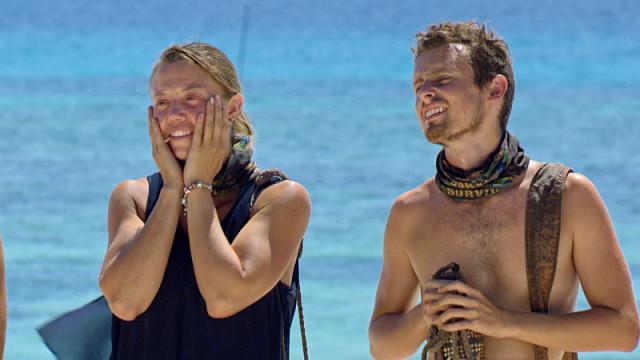 Jessica Lewis with Adam Klein at challenge on Survivor: Millennials Vs. Gen-X