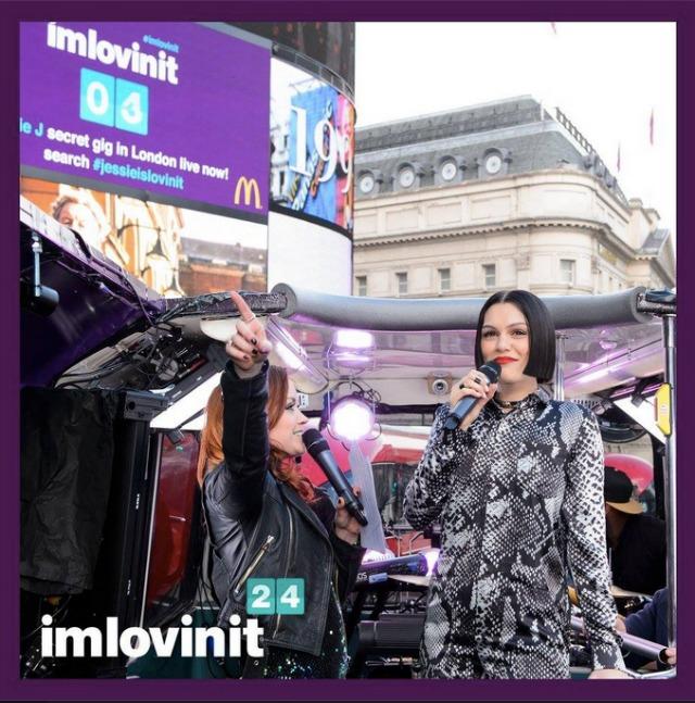 Jessie J plays on open top London bus as part of McDonald's imlovinit campaign