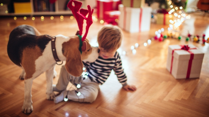 Rudolph kissing a little boy for