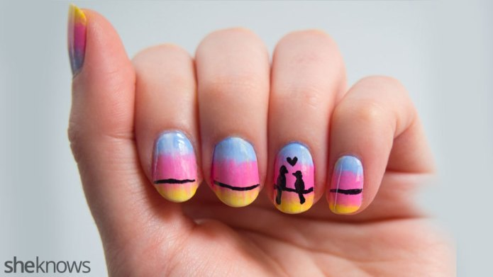 Cute love birds nail design is