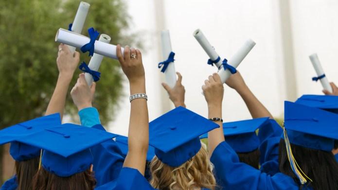 Group of Graduates Dressed in Graduation