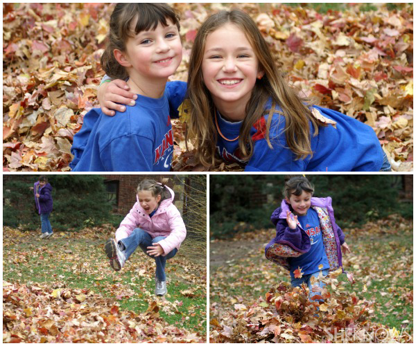Jill McElroy's daughters - Kids playing in fall leaves