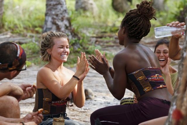 Julia Sokolowski with Cydney Gillon at camp on Survivor: Kaoh Rong