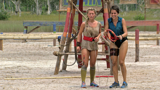Julia Sokolowski competes in challenge with Aubry Bracco on Survivor: Kaoh Rong