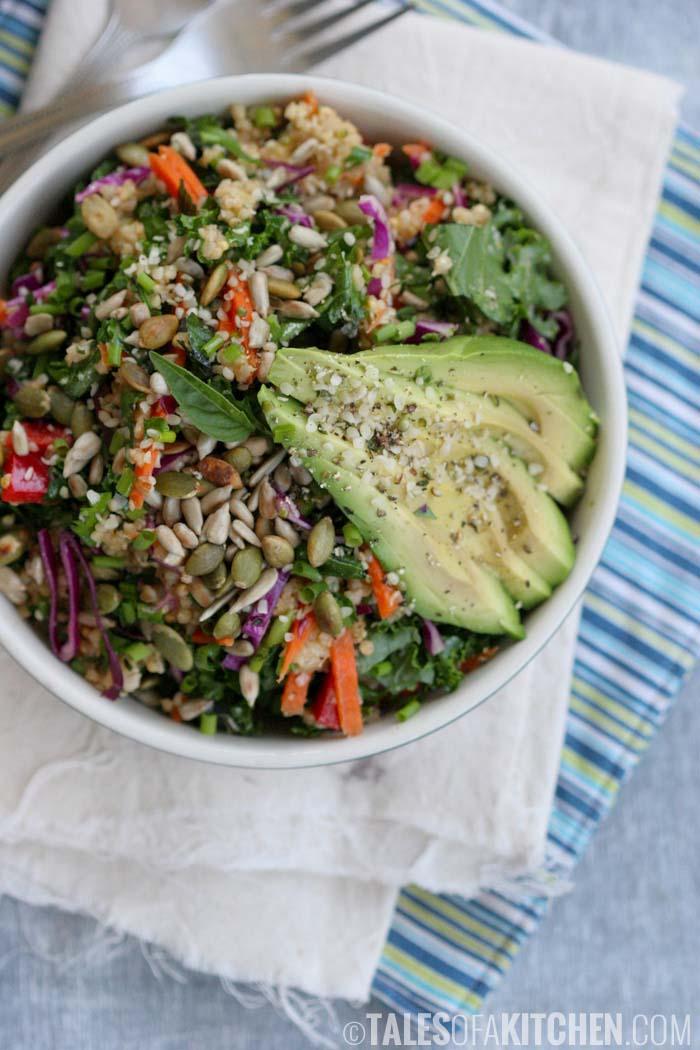 Massaged kale avocado and millet salad