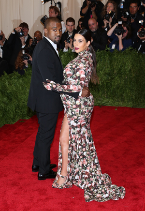 Kim Kardashian and Kanye West on the red carpet at the Met Gala