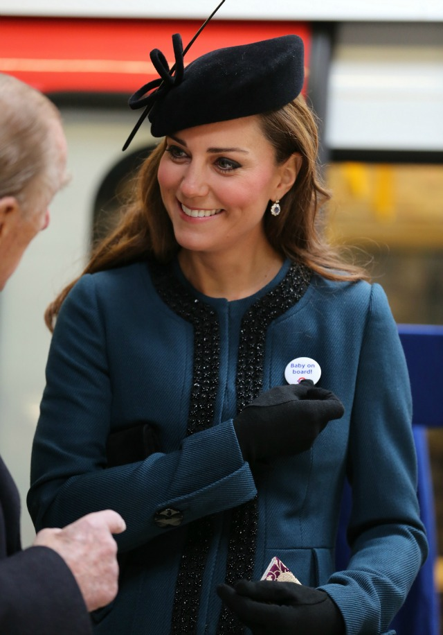 Kate Middelton with baby on board badge