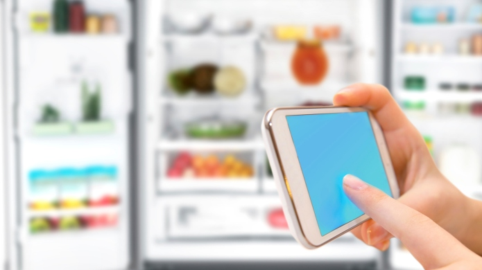 Shopping list on his phone connected