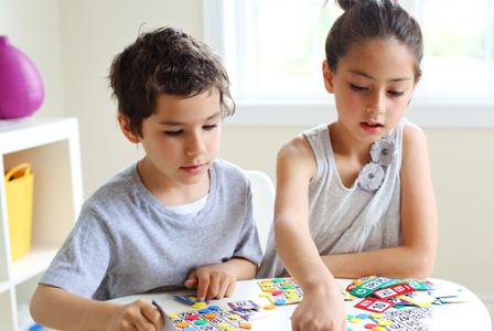 Kids playing bingo