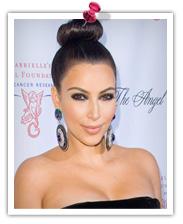 Kim Kardashian with top knot