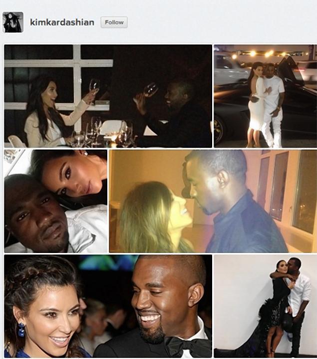 Kim Kardashian and Kanye West in Instagram collage