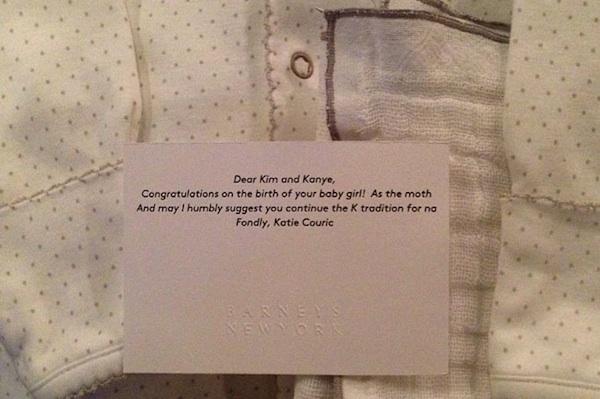 Kim Kardashian Instagram photo of Couric baby gift
