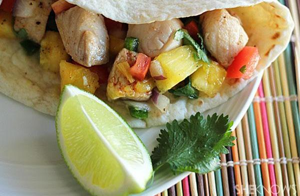 Fish tacos with homemade organic pineapple-mango