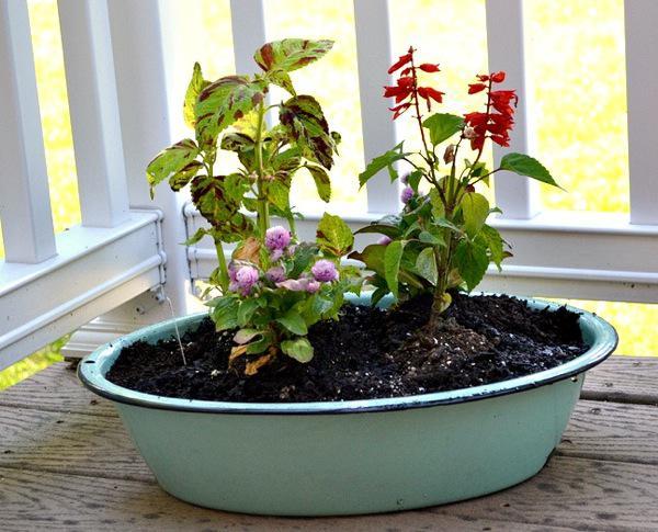 DIY vintage tub garden