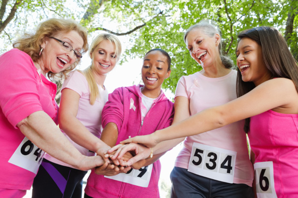 Ladies running in pink for breast cancer awareness