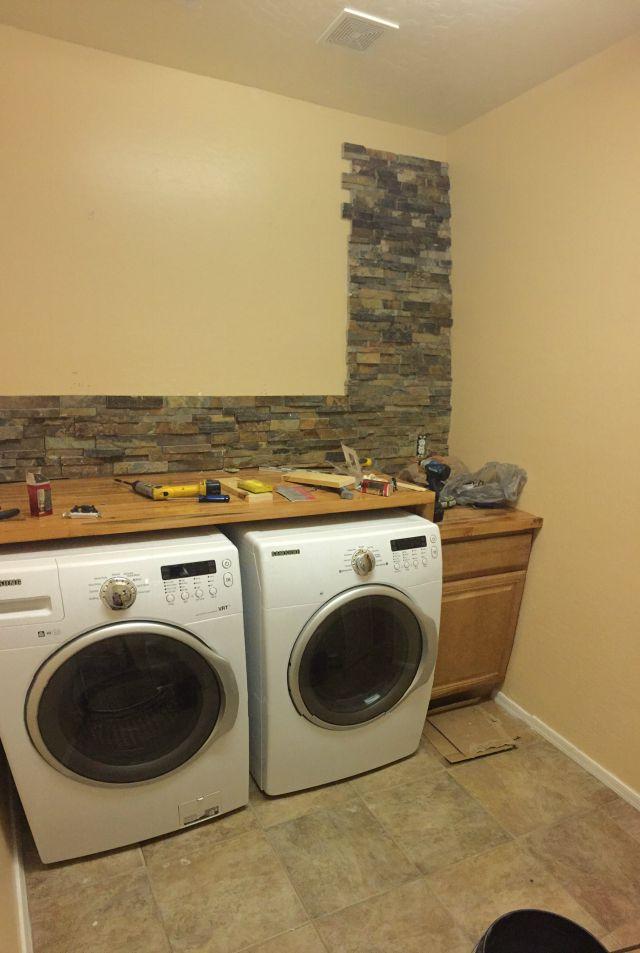 Laundry room renovation backsplash