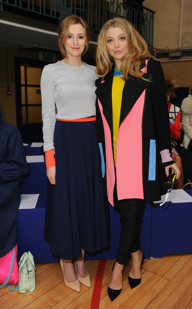 Laura Carmichael and Natalie Dormer at London Fashion Week AW15