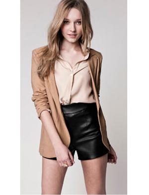 Lauren Conrad Paper Crown 107 Ryder Blazer in Camel / 118 Hudson Short in Black