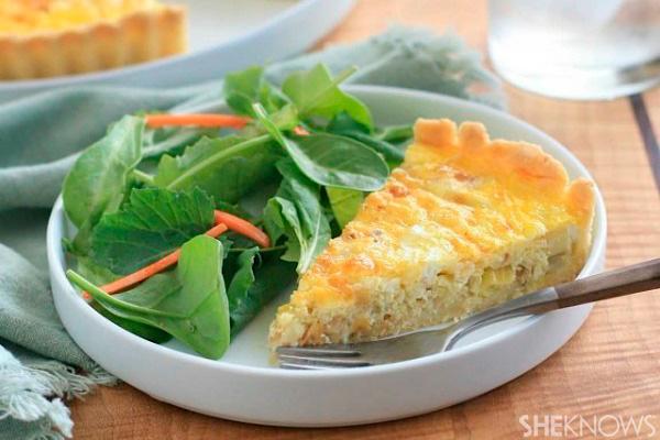 Gluten-free leek and onion tart