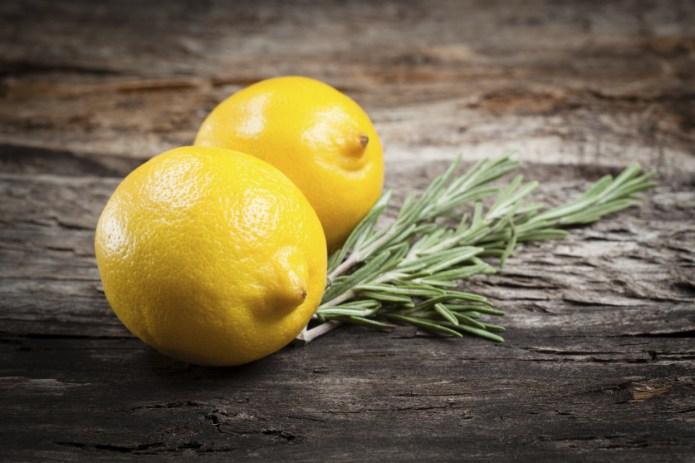 Lemon. Fruits with rosemary Organic food
