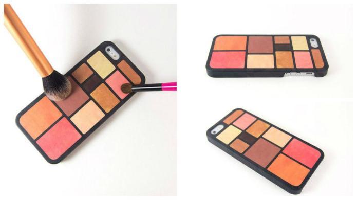 An iPhone case with makeup built