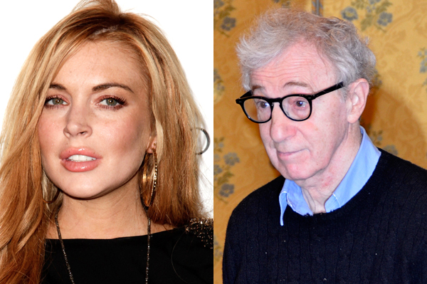 Woody Allen has dinner with Lindsay Lohan