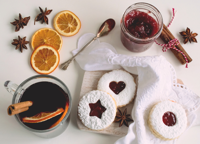 Jam filled linzer cookies