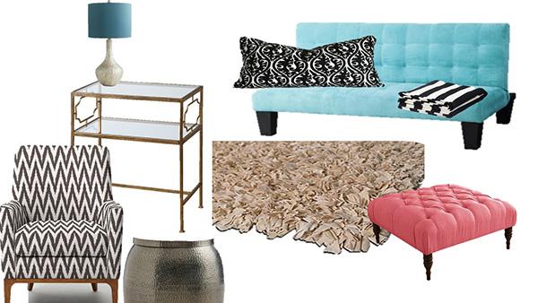 Gold living room shopping list