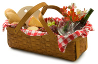 Loaded picnic basket with wine bottle