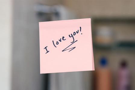Love note on mirror