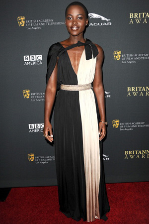 Lupita Nyong'o wearing two-tone dress