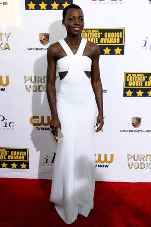 Lupita Nyong'o wearing Calvin Klein at the Critic's Choice Movie Awards