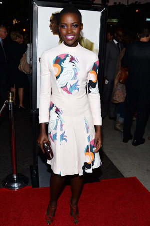 Lupita Nyong'o wearing Miu Miu dress