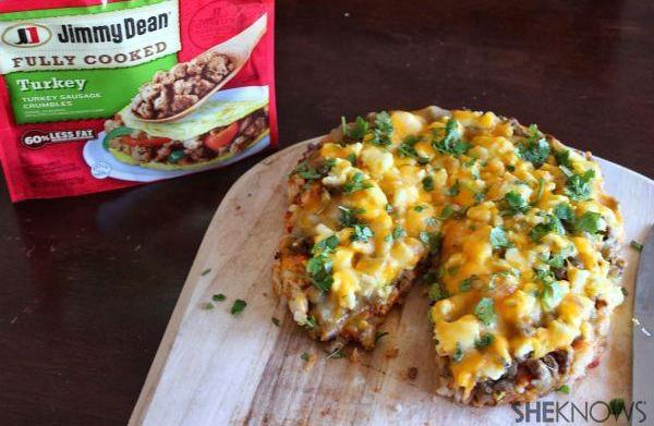 Breakfast sausage pizza with hash brown
