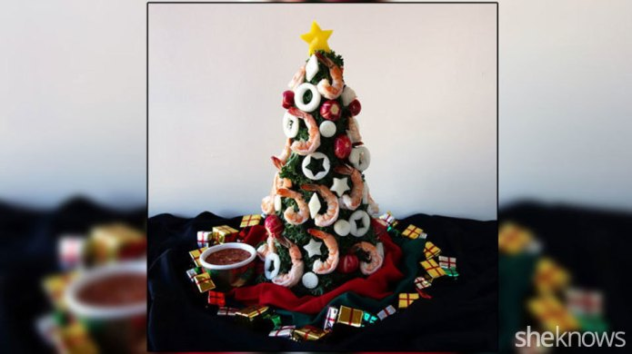 Edible Christmas tree with shrimp adds
