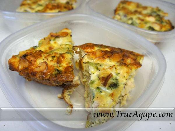 Chicken, Broccoli and Almond Frittata