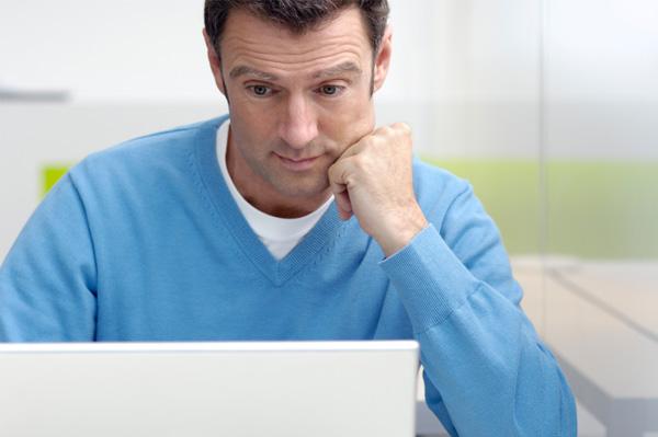 Alarmed man on dating website