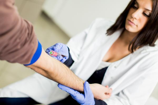 Man getting blood test