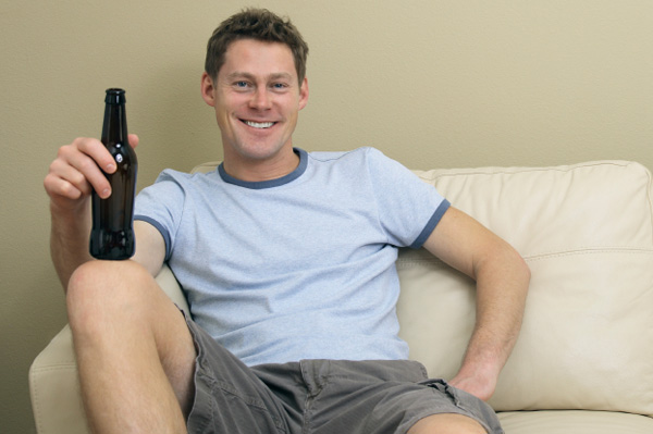 Man relaxing with beer