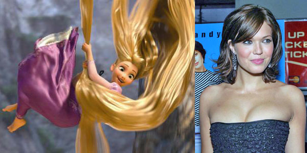Mandy Moore with her brunette hairstyle and Tangled's Rapunzel with her blonde hairstyle