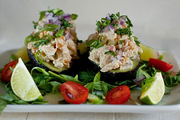Mango chicken salad in avocado boats recipe