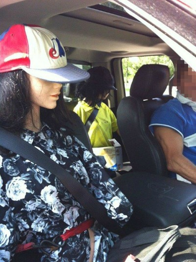Solo driver fills car with mannequins to use HOV lane