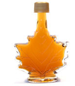 Maple syrup in maple leaf-shaped bottle